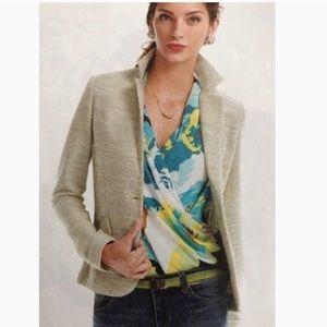 CAbi Lemon Zest Tweed Blazer Single Button Jacket